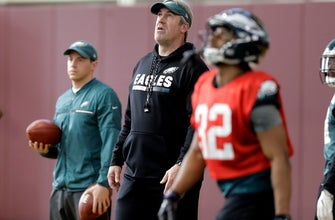 Eagles celebrate coach's birthday at Super Bowl practice