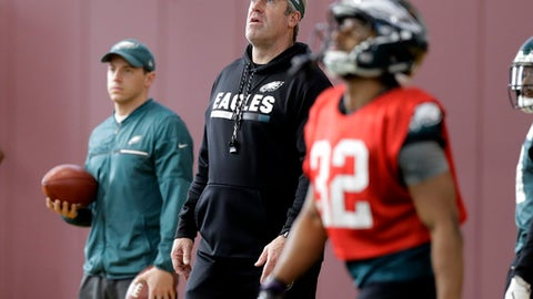 Philadelphia Eagles head coach Doug Pederson, center, watches a kick as he runs a practice for the NFL Super Bowl 52 football game Wednesday, Jan. 31, 2018, in Minneapolis. Philadelphia is scheduled to face the New England Patriots Sunday. (AP Photo/Eric Gay)