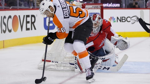 Philadelphia Flyers left wing Tyrell Goulbourne (56) works the puck in front of Washington Capitals goaltender Braden Holtby during the second period of an NHL hockey game Wednesday, Jan. 31, 2018, in Washington. (AP Photo/Alex Brandon)