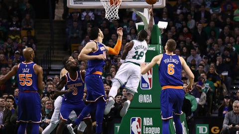 BOSTON, MA - JANUARY 31:  Terry Rozier #12 of the Boston Celtics during the game during the first quarter of the game against the New York Knicks at TD Garden on January 31, 2018 in Boston, Massachusetts. NOTE TO USER: User expressly acknowledges and agrees that, by downloading and or using this photograph, User is consenting to the terms and conditions of the Getty Images License Agreement.  (Photo by Omar Rawlings/Getty Images)