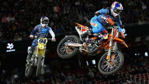 SANTA CLARA, CA - APRIL 02:  Ryan Dungey leads Ken Roczen in 450SX Monster Energy AMA Supercross final at Levi's Stadium on April 2, 2016 in Santa Clara, California.  (Photo by Ezra Shaw/Getty Images)