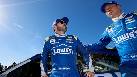 HOMESTEAD, FL - NOVEMBER 19:  Jimmie Johnson, driver of the #48 Lowe's Chevrolet, stands on the grid with his crew chief Chad Knaus prior to the Monster Energy NASCAR Cup Series Championship Ford EcoBoost 400 at Homestead-Miami Speedway on November 19, 2017 in Homestead, Florida.  (Photo by Jonathan Ferrey/Getty Images)