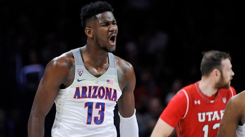Jan 27, 2018; Tucson, AZ, USA; Arizona Wildcats forward Deandre Ayton (13) celebrates after scoring against the Utah Utes during the first half at McKale Center. Mandatory Credit: Casey Sapio-USA TODAY Sports