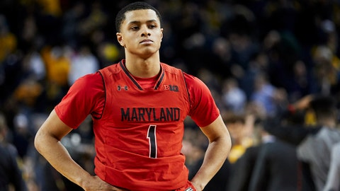Jan 15, 2018; Ann Arbor, MI, USA; Maryland Terrapins guard Anthony Cowan (1) walks off the court after the game against the Michigan Wolverines 68-67 at Crisler Center. The won Wolverines 68-67. Mandatory Credit: Rick Osentoski-USA TODAY Sports