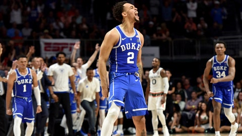 Jan 15, 2018; Coral Gables, FL, USA; Duke Blue Devils guard Gary Trent Jr (2) reacts against the Miami Hurricanes during the second half at Watsco Center. Mandatory Credit: Steve Mitchell-USA TODAY Sports