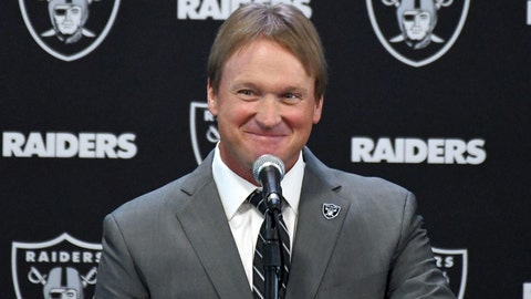 Jan 9, 2018; Alameda, CA, USA; Jon Gruden is introduced as head coach at a press conference at the Oakland Raiders headquarters Mandatory Credit: Kirby Lee-USA TODAY Sports