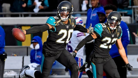Jan 7, 2018; Jacksonville, FL, USA; Jacksonville Jaguars cornerback Jalen Ramsey (20) celebrates intercepting a pass during the fourth quarter against the Buffalo Bills in the AFC Wild Card playoff football game at EverBank Field. Mandatory Credit: Tommy Gilligan-USA TODAY Sports