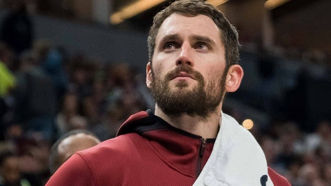 Jan 8, 2018; Minneapolis, MN, USA; Cleveland Cavaliers forward Kevin Love (0) on the bench in the third quarter against the Minnesota Timberwolves at Target Center. Mandatory Credit: Brad Rempel-USA TODAY Sports