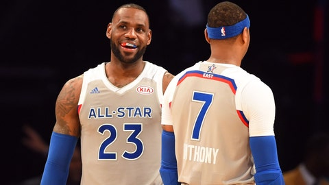 Feb 19, 2017; New Orleans, LA, USA;  Eastern Conference forward LeBron James of the Cleveland Cavaliers (23) laughs with  Eastern Conference forward Carmelo Anthony of the New York Knicks (7) in the 2017 NBA All-Star Game at Smoothie King Center. Mandatory Credit: Bob Donnan-USA TODAY Sports
