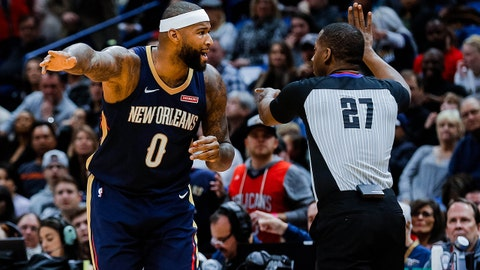 Jan 12, 2018; New Orleans, LA, USA; New Orleans Pelicans center DeMarcus Cousins (0) argues with referee Mitchell Ervin (27) during the first quarter against the Portland Trail Blazers at the Smoothie King Center. Mandatory Credit: Derick E. Hingle-USA TODAY Sports