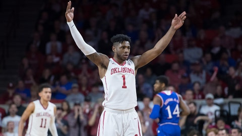 Jan 23, 2018; Norman, OK, USA; Oklahoma Sooners guard Rashard Odomes (1) motions to the crowd during the second half against the Kansas Jayhawks at Lloyd Noble Center. Mandatory Credit: Rob Ferguson-USA TODAY Sports