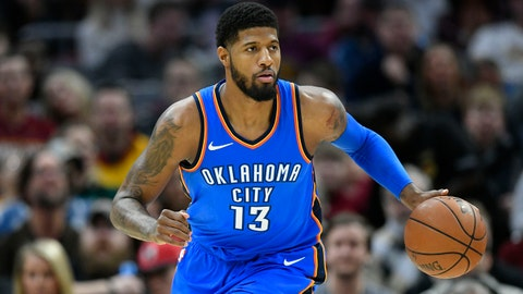 iJan 20, 2018; Cleveland, OH, USA; Oklahoma City Thunder forward Paul George (13) brings the ball up court in the first quarter against the Cleveland Cavaliers at Quicken Loans Arena. Mandatory Credit: David Richard-USA TODAY Sports
