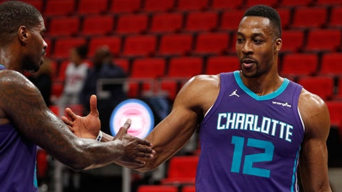 Jan 15, 2018; Detroit, MI, USA; Charlotte Hornets center Dwight Howard (12) celebrates with forward Marvin Williams (2) after a game against the Detroit Pistons at Little Caesars Arena. Mandatory Credit: Raj Mehta-USA TODAY Sports