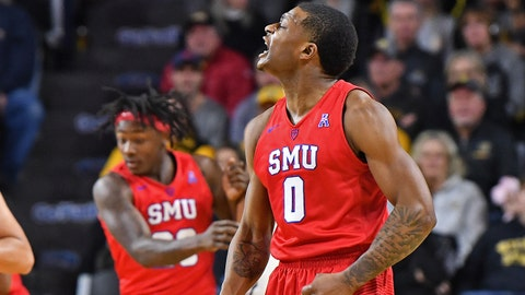 Jan 17, 2018; Wichita, KS, USA; Southern Methodist Mustangs guard Jahmal McMurray (0) reacts after hitting a three point shot against the Southern Methodist Mustangs during the first half at Charles Koch Arena. Mandatory Credit: Peter G. Aiken-USA TODAY Sports