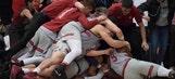 Watch Stanford's Daejon Davis hit a half court buzzer beater to beat USC