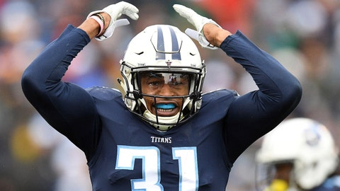 Dec 24, 2017; Nashville, TN, USA; Tennessee Titans safety Kevin Byard (31) celebrates after a defensive stop during the second half against the Los Angeles Rams at Nissan Stadium. Mandatory Credit: Christopher Hanewinckel-USA TODAY Sports