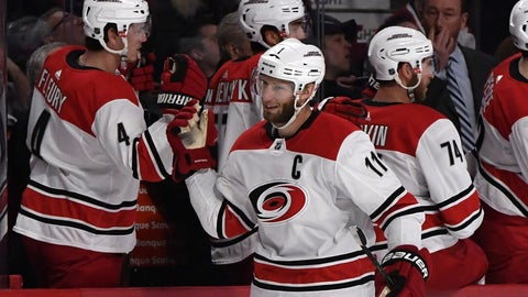 Jan 25, 2018; Montreal, Quebec, CAN; Carolina Hurricanes forward Jordan Staal (11) reacts with teammates after scoring a goal  against the Montreal Canadiens during the first period at the Bell Centre. Mandatory Credit: Eric Bolte-USA TODAY Sports
