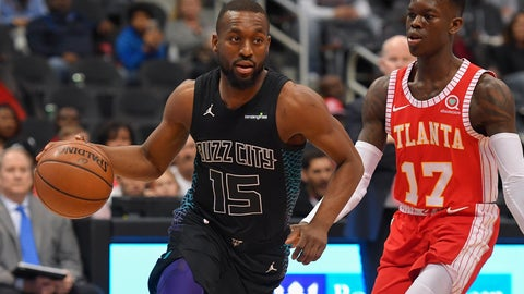 Jan 31, 2018; Atlanta, GA, USA; Charlotte Hornets guard Kemba Walker (15) dribbles past Atlanta Hawks guard Dennis Schroder (17) during the first half at Philips Arena. Mandatory Credit: Dale Zanine-USA TODAY Sports