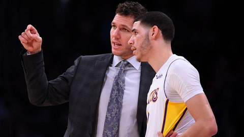 Jan 7, 2018; Los Angeles, CA, USA;  Los Angeles Lakers guard Lonzo Ball (2) listens to head coach Luke Walton in the second half of the game against the Atlanta Hawks at Staples Center. Mandatory Credit: Jayne Kamin-Oncea-USA TODAY Sports