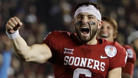 Oklahoma quarterback Baker Mayfield celebrates after defensive back Steven Parker recovered a fumble and scored a touchdown against Georgia during the second half of the Rose Bowl NCAA college football game, Monday, Jan. 1, 2018, in Pasadena, Calif. (AP Photo/Jae C. Hong)