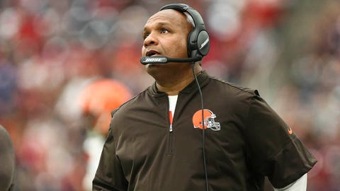 Oct 15, 2017; Houston, TX, USA; Cleveland Browns head coach Hue Jackson looks on during the second half against the Houston Texans at NRG Stadium. Mandatory Credit: Troy Taormina-USA TODAY Sports