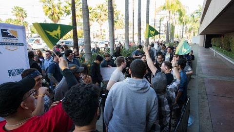 Fans in line