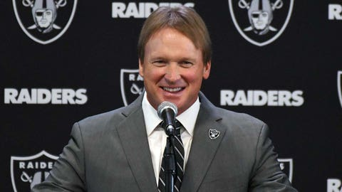 Jan 9, 2018; Alameda, CA, USA; Jon Gruden is introduced as head coach at a press conference at the Raiders headquarters Mandatory Credit: Kirby Lee-USA TODAY Sports