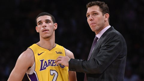 Dec 18, 2017; Los Angeles, CA, USA; Los Angeles Lakers head coach Luke Walton (R) talks to guard Lonzo Ball (2) during the fourth quarter against the Golden State Warriors at Staples Center. Mandatory Credit: Robert Hanashiro-USA TODAY Sports
