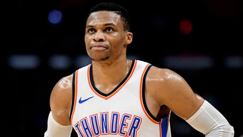 Jan 4, 2018; Los Angeles, CA, USA; Oklahoma City Thunder guard Russell Westbrook (0) takes a breather during the second half against the LA Clippers at Staples Center. Mandatory Credit: Kirby Lee-USA TODAY Sports