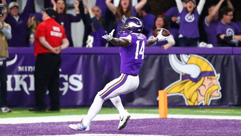 Jan 14, 2018; Minneapolis, MN, USA; Minnesota Vikings wide receiver Stefon Diggs celebrates as he scores the game winning touchdown against the New Orleans Saints at U.S. Bank Stadium. Mandatory Credit: Mark J. Rebilas-USA TODAY Sports