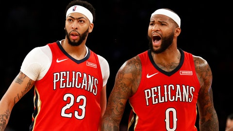 Jan 14, 2018; New York, NY, USA; New Orleans Pelicans forward Anthony Davis (23) and New Orleans Pelicans center DeMarcus Cousins (0) react late during the second half against the New York Knicks at Madison Square Garden. Mandatory Credit: Adam Hunger-USA TODAY Sports