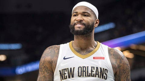 Jan 6, 2018; Minneapolis, MN, USA; New Orleans Pelicans center DeMarcus Cousins (0) reacts during the second half against the Minnesota Timberwolves at Target Center. Mandatory Credit: Jesse Johnson-USA TODAY Sports