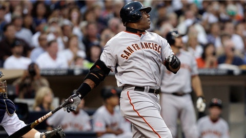 FILE - In this Aug. 4, 2007, file photo, San Francisco Giants' Barry Bonds watches a home run, the 755th of his career, during the second inning of the team's baseball game against the San Diego Padres in San Diego. Bonds and Roger Clemens came up short in voting for the baseball Hall of Fame, in results announced Wednesday, Jan. 24, 2018. (AP Photo/ Kevork Djansezian, File)