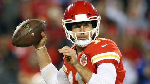 Dec 16, 2017; Kansas City, MO, USA; Kansas City Chiefs quarterback Alex Smith (11) throws a pass against the Los Angeles Chargers in the first half at Arrowhead Stadium. Mandatory Credit: Jay Biggerstaff-USA TODAY Sports