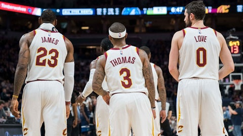 Jan 8, 2018; Minneapolis, MN, USA; Cleveland Cavaliers forward LeBron James (23) and guard Isaiah Thomas (3) and forward Kevin Love (0) in the third quarter against the Minnesota Timberwolves at Target Center. Mandatory Credit: Brad Rempel-USA TODAY Sports
