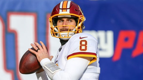 Dec 31, 2017; East Rutherford, NJ, USA; Washington Redskins quarterback Kirk Cousins (8) warms up prior to the game against the the New York Giants at MetLife Stadium. Mandatory Credit: Vincent Carchietta-USA TODAY Sports