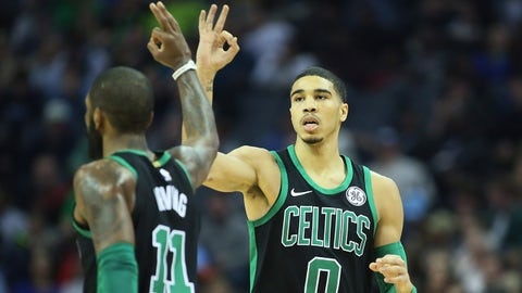 Dec 16, 2017; Memphis, TN, USA; Boston Celtics guard Kyrie Irving (6) and forward Jayson Tatum (0) celebrate after a three point shot by Tatum in the first half against the Memphis Grizzlies at FedExForum. Mandatory Credit: Nelson Chenault-USA TODAY Sports