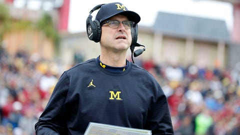 Jan 1, 2018; Tampa, FL, USA;Michigan Wolverines head coach Jim Harbaugh  during the first half of the 2018 Outback Bowl against the South Carolina Gamecocks at Raymond James Stadium. Mandatory Credit: Kim Klement-USA TODAY Sports
