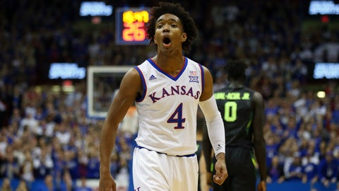 Jan 20, 2018; Lawrence, KS, USA; Kansas Jayhawks guard Devonte' Graham (4) celebrates after a play against the Baylor Bears in the first half at Allen Fieldhouse. Mandatory Credit: Jay Biggerstaff-USA TODAY Sports