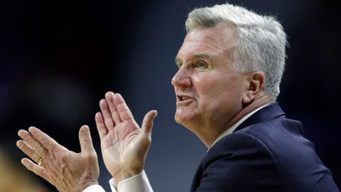 Kansas State head coach Bruce Weber cheers on his team during the second half of an NCAA college basketball game against Oklahoma State in Manhattan, Kan., Wednesday, Jan. 10, 2018. Kansas State defeated Oklahoma State 86-82. (AP Photo/Orlin Wagner)