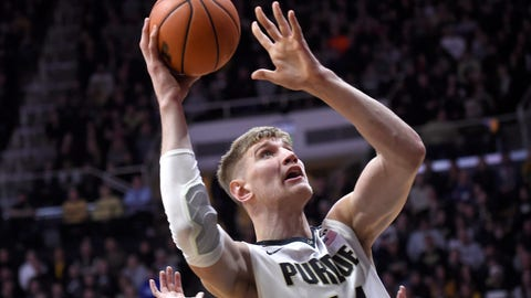 Dec 30, 2017; West Lafayette, IN, USA; Purdue Boilermakers center Isaac Haas (44) shoots in the first half against the Lipscomb Bisons at Mackey Arena. Mandatory Credit: Sandra Dukes-USA TODAY Sports