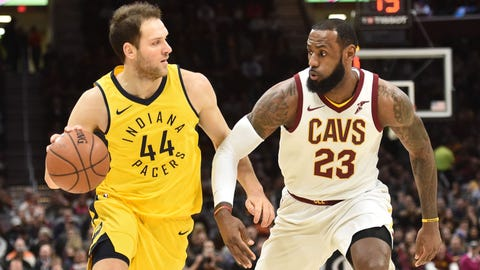 Jan 26, 2018; Cleveland, OH, USA; Indiana Pacers forward Bojan Bogdanovic (44) moves to the basket against Cleveland Cavaliers forward LeBron James (23) during the first half at Quicken Loans Arena. Mandatory Credit: Ken Blaze-USA TODAY Sports