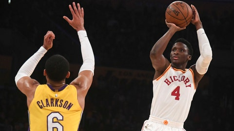January 19, 2018; Los Angeles, CA, USA; Indiana Pacers guard Victor Oladipo (4) shoots the basketball against Los Angeles Lakers guard Jordan Clarkson (6) during the first half at Staples Center. Mandatory Credit: Richard Mackson-USA TODAY Sports