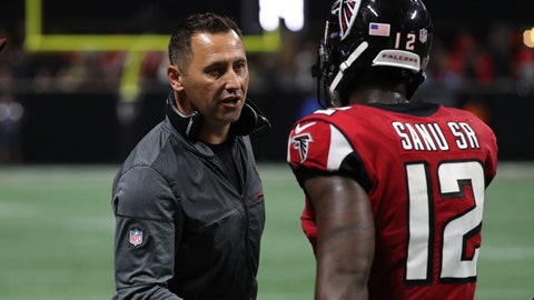 Sep 17, 2017; Atlanta, GA, USA; Atlanta Falcons offensive coordinator Steve Sarkisian greets wide receiver Mohamed Sanu (12) after a touchdown in the second quarter against the Green Bay Packers at Mercedes-Benz Stadium. Mandatory Credit: Jason Getz-USA TODAY Sports