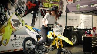 Rachel Bonnetta celebrates the return of Supercross with a ride on a VR bike