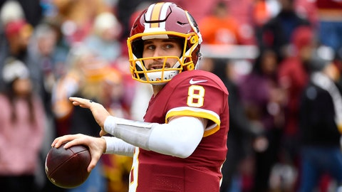 Dec 24, 2017; Landover, MD, USA; Washington Redskins quarterback Kirk Cousins (8) warms up before the game between the Washington Redskins and the Denver Broncos at FedEx Field. Mandatory Credit: Brad Mills-USA TODAY Sports