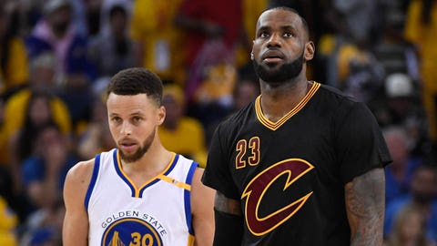 June 4, 2017; Oakland, CA, USA; Golden State Warriors guard Stephen Curry (30) and Cleveland Cavaliers forward LeBron James (23) during the fourth quarter in game two of the 2017 NBA Finals at Oracle Arena. The Warriors defeated the Cavaliers 132-113. Mandatory Credit: Kyle Terada-USA TODAY Sports
