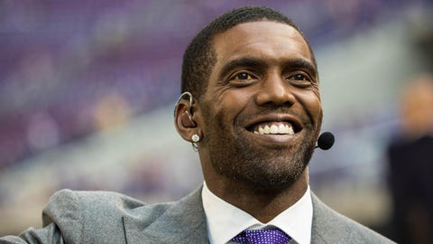 Sep 11, 2017; Minneapolis, MN, USA; ESPN personality Randy Moss looks on prior to the game between the Minnesota Vikings and New Orleans Saints at U.S. Bank Stadium. Mandatory Credit: Brace Hemmelgarn-USA TODAY Sports