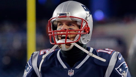 Jan 13, 2018; Foxborough, MA, USA; New England Patriots quarterback Tom Brady (12) runs onto the field prior to the AFC Divisional playoff game against the Tennessee Titans at Gillette Stadium. Mandatory Credit: David Butler II-USA TODAY Sports