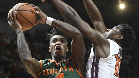Anthony Lawrence career highs lead Miami Hurricanes over Virginia Tech